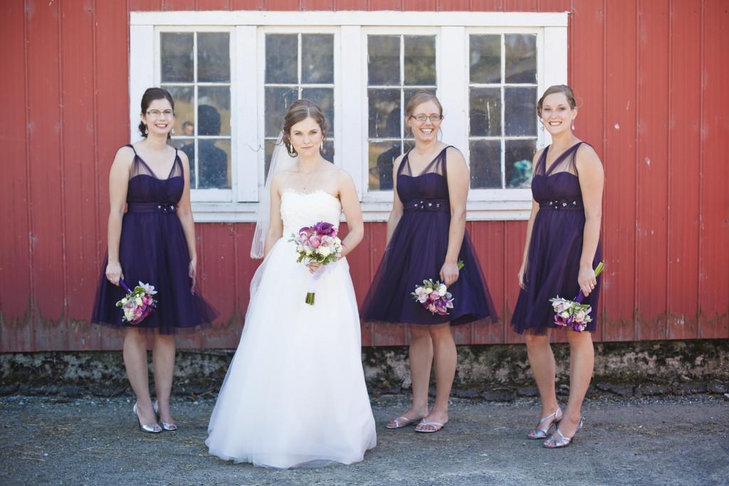 bride and bridesmaids portrait, saar bank farms