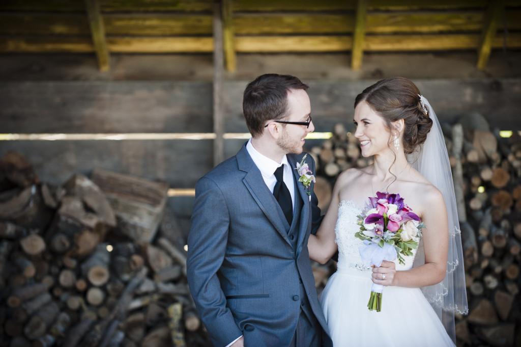 bride and groom, rustic barn portrait, saar bank farms wedding