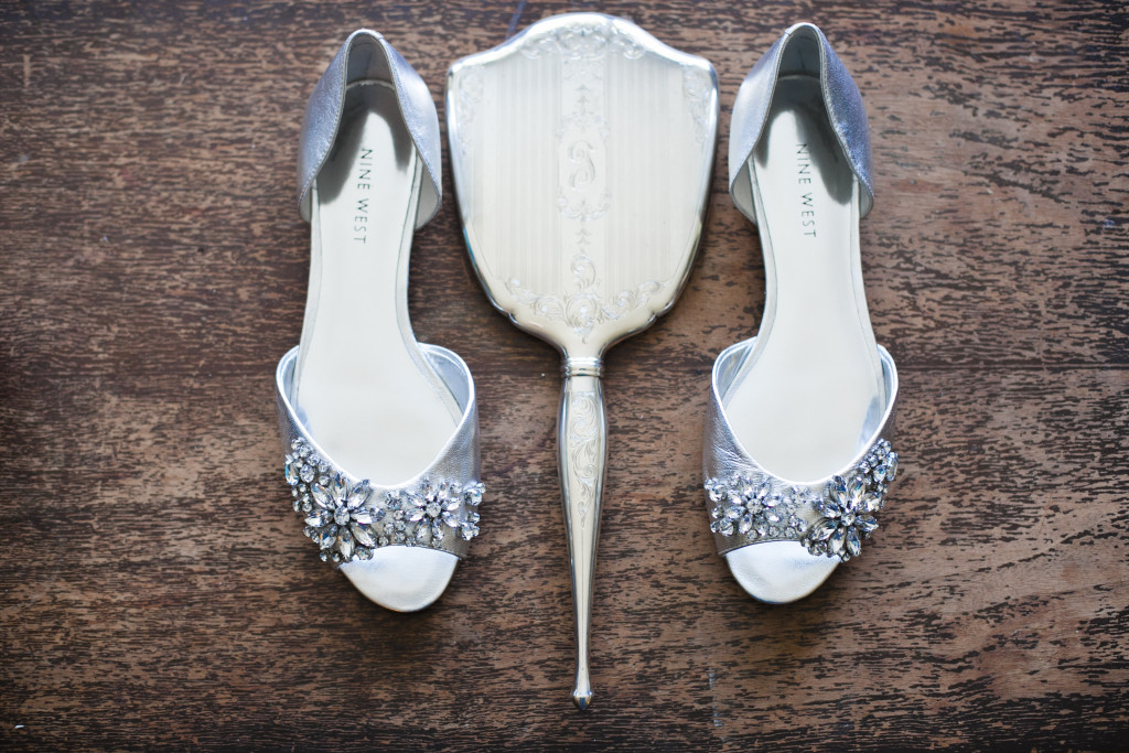 wedding shoes and grandmother's heirloom mirror