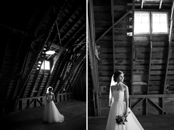 bride in barn at saar bank farms wedding chilliwack