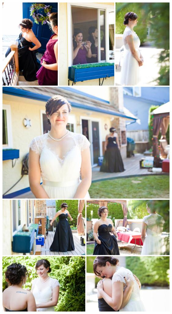 first look backyard lesbian wedding