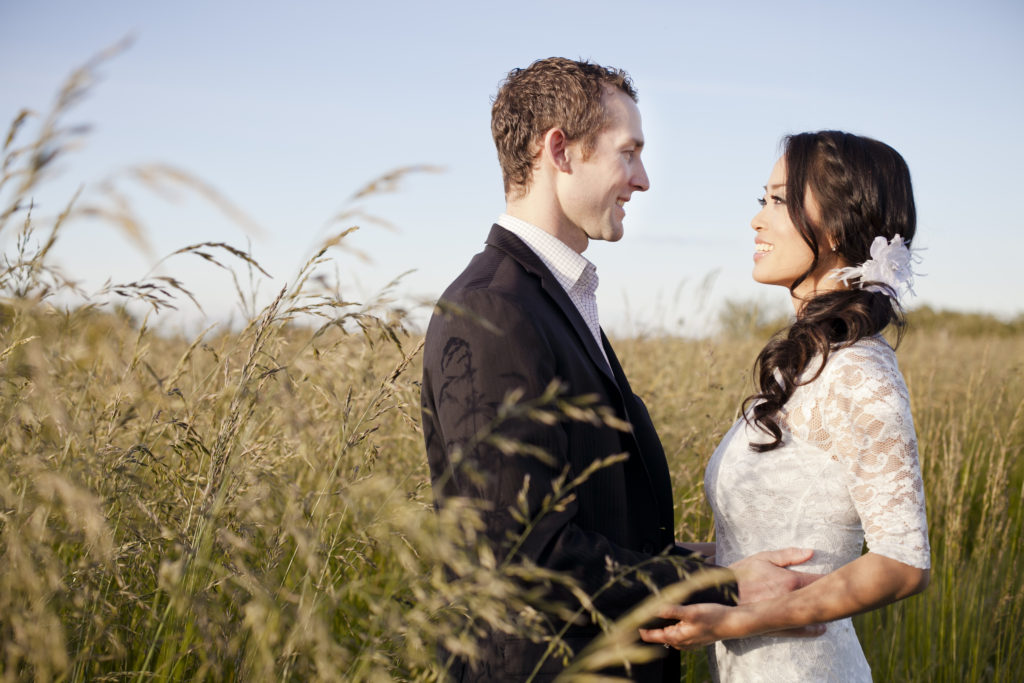 vancouver engagement session in field of tall grass