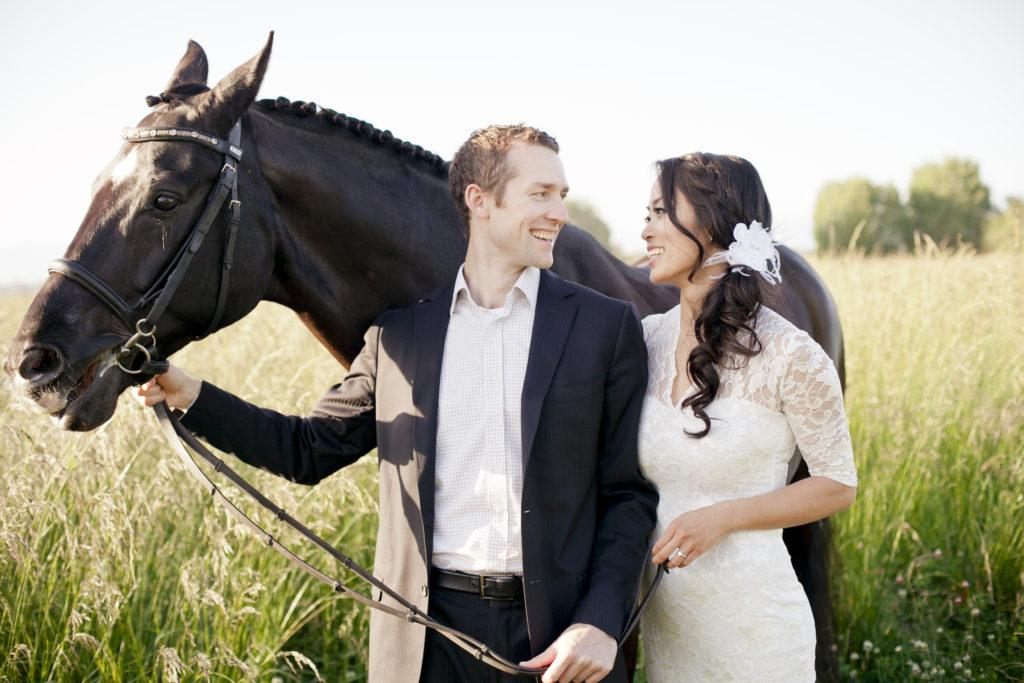 horse farm engagement session
