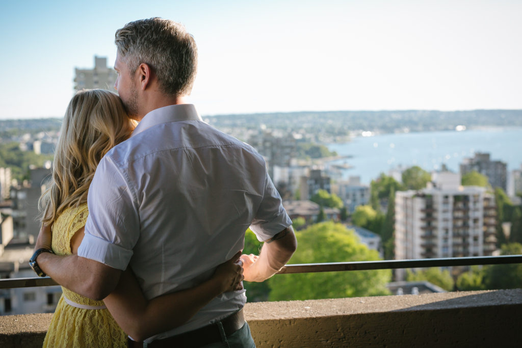 vancouver engagement photos view of english bay and ocean