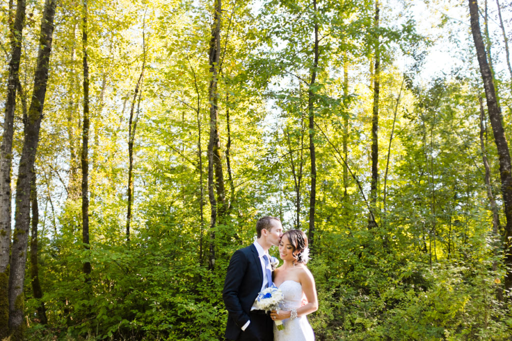 couple in forest port moody wedding