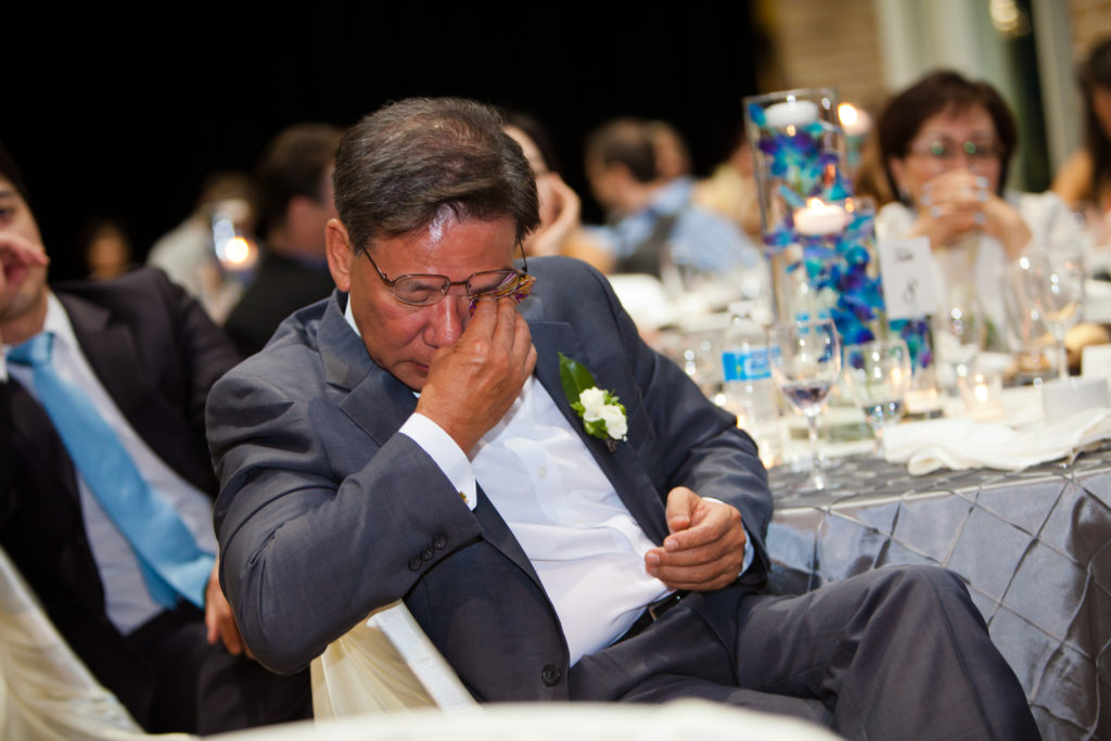 father of the bride crying during speech