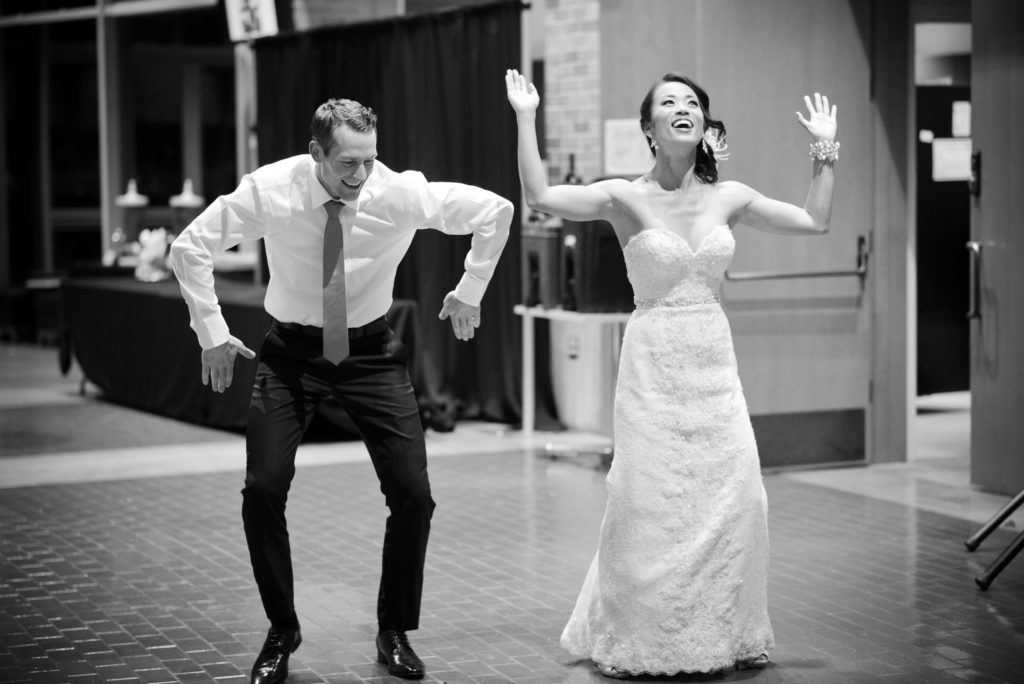 bride and groom surprise with choreographed first dance port moody