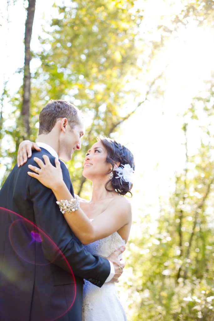 wedding couple at old orchard park port moody