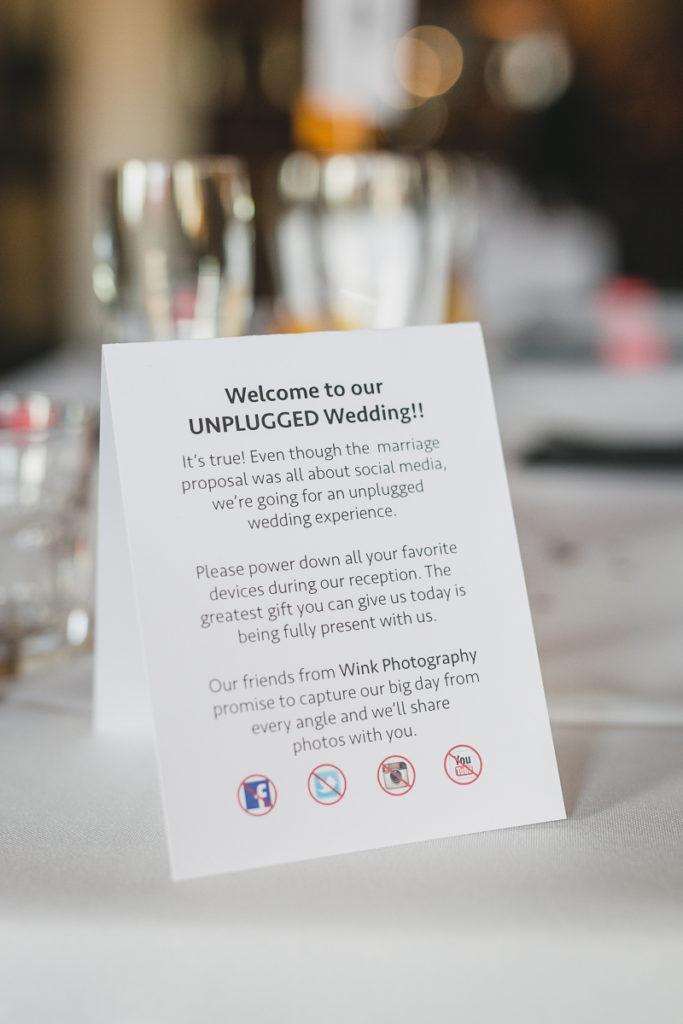 unplugged wedding sign, unplugged reception, unplugged wedding vancouver