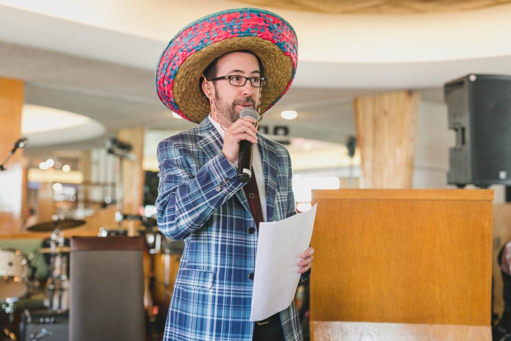 wedding mc wearing sombrero