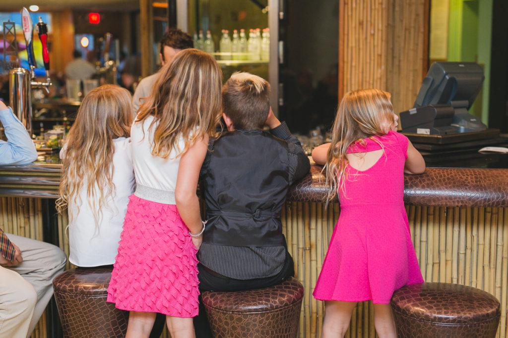 kids at bar at wedding, tiki bar vancouver