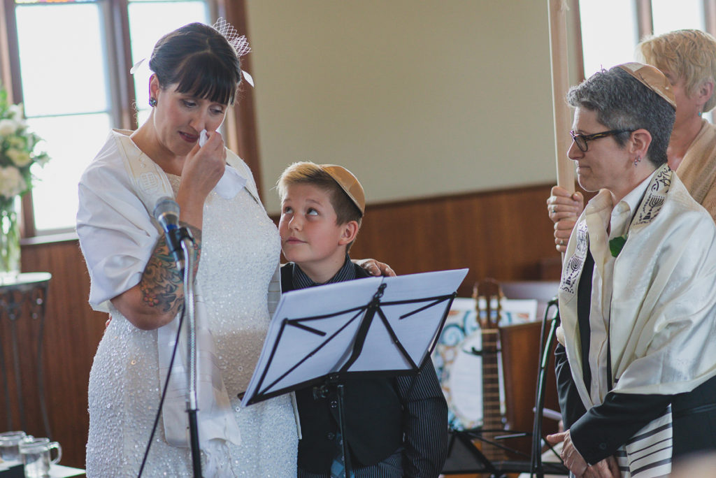 bride making speech to son during wedding ceremony in vancouver