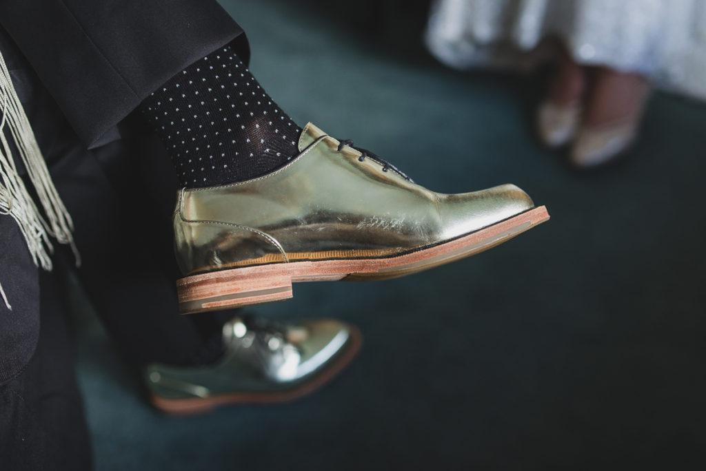 lesbian wedding vancouver, gold wedding shoes