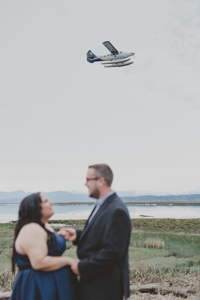 richmond airport engagement, richmond sea plane, richmond engagement photos