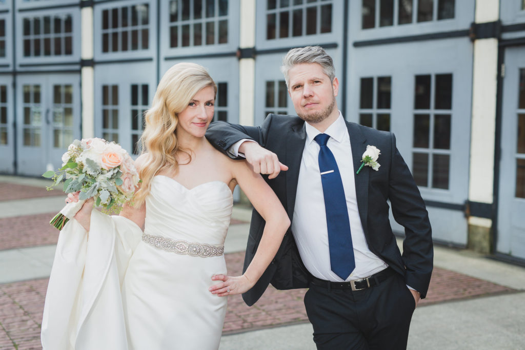 casual bride and groom portrait vancouver, bouquet by budget blooms