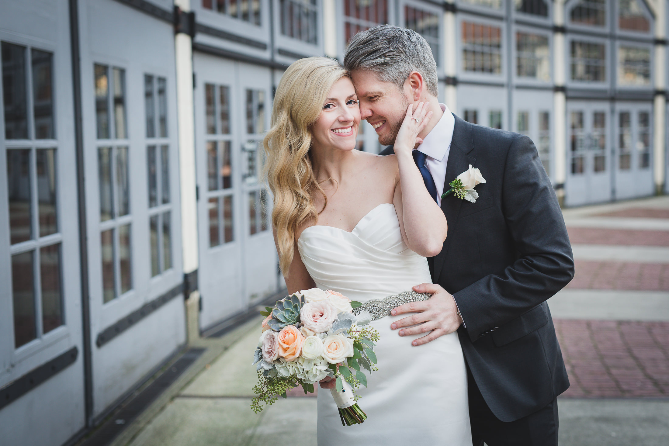 fun bride and groom portrait roundhouse vancouver in yaletown