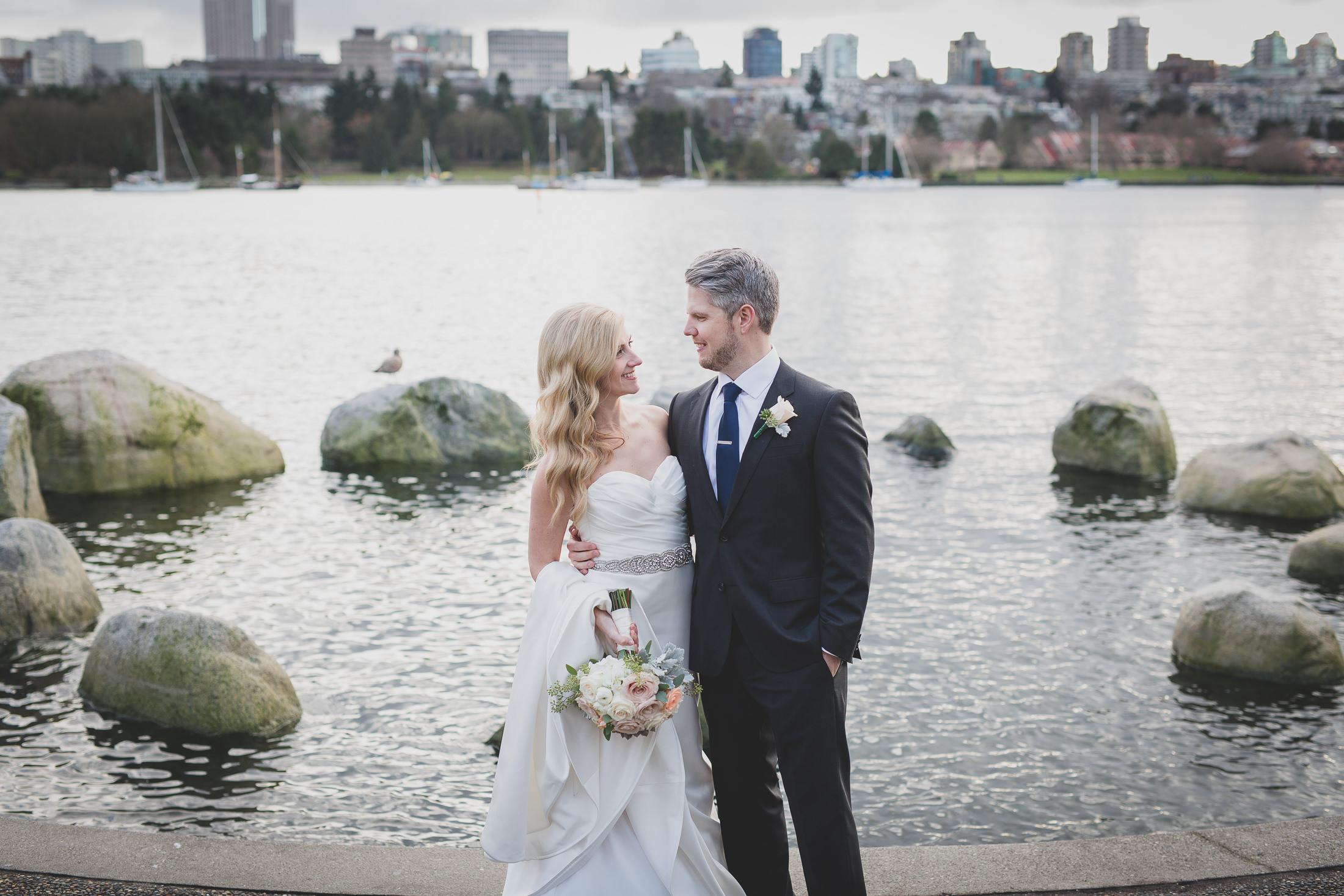 coal harbour wedding portrait bride and groom