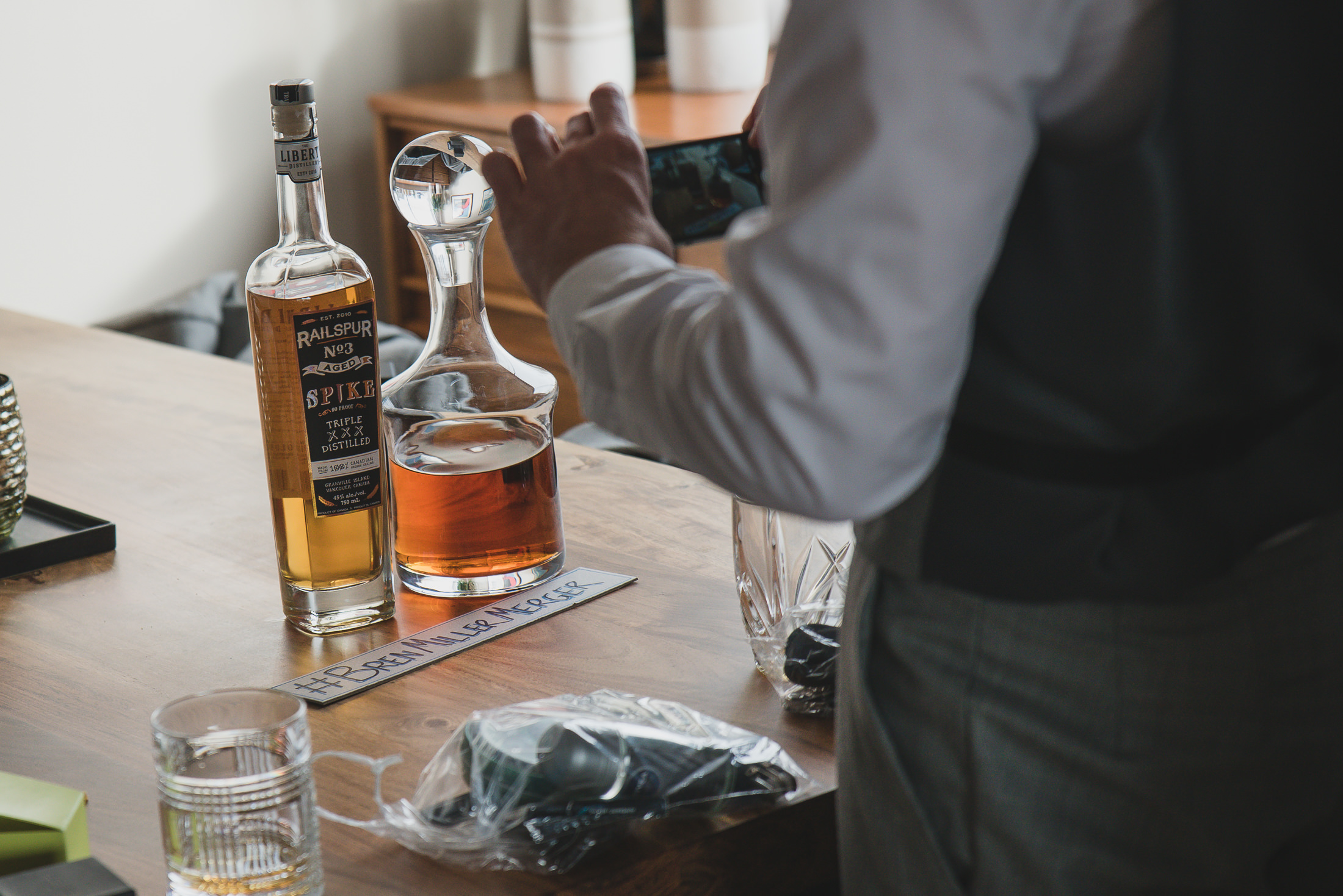 vancouver wedding whisky and hashtag