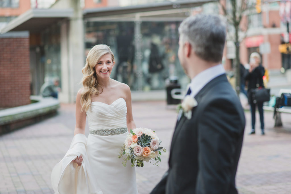 offbeat vancouver wedding emotional first look