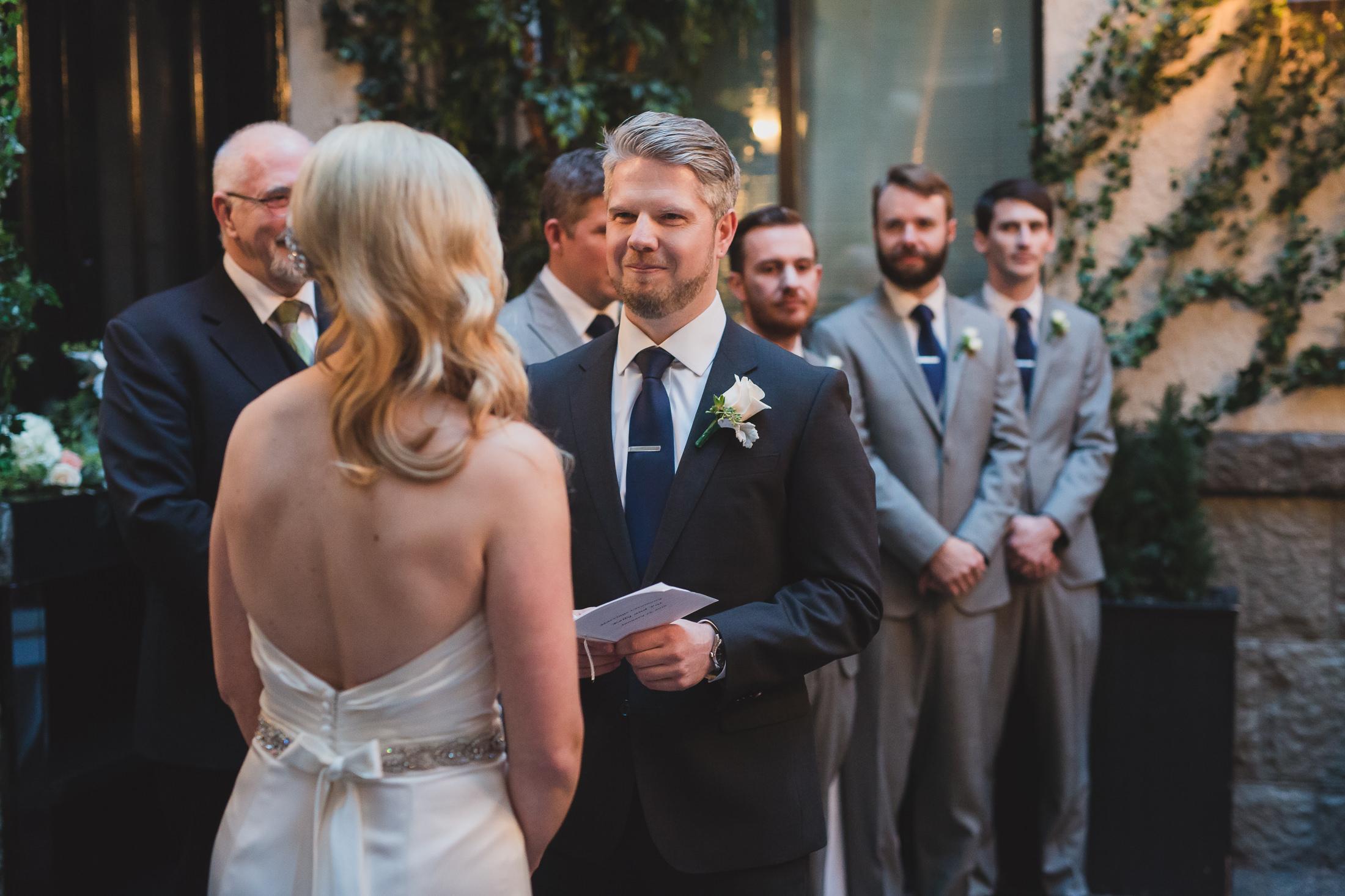 groom vows vancouver winter wedding at brix