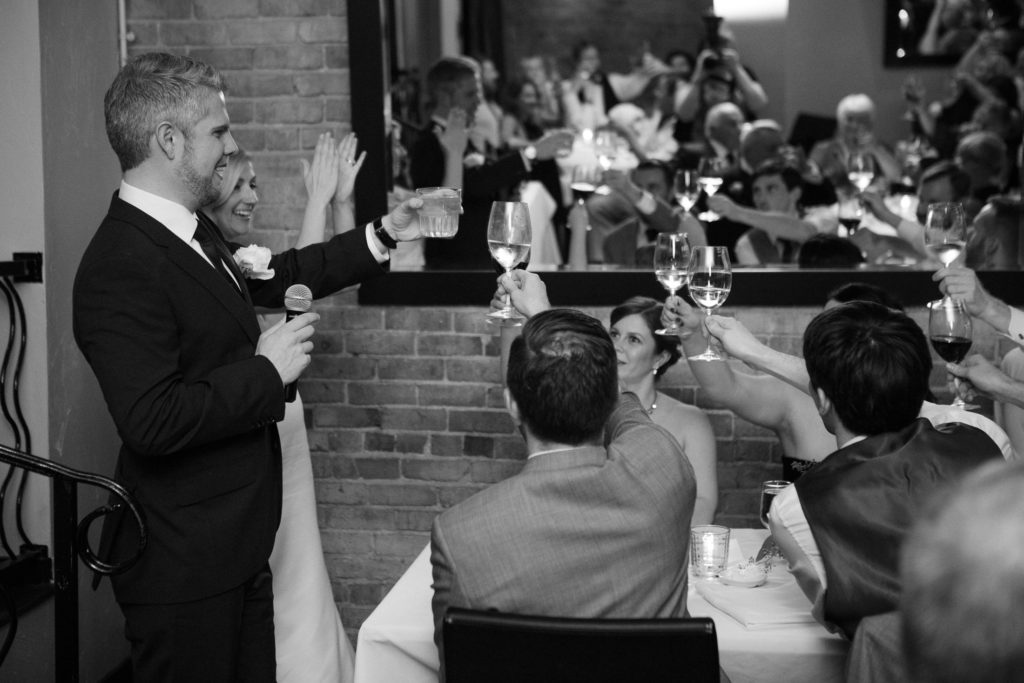 bride and groom wedding toast