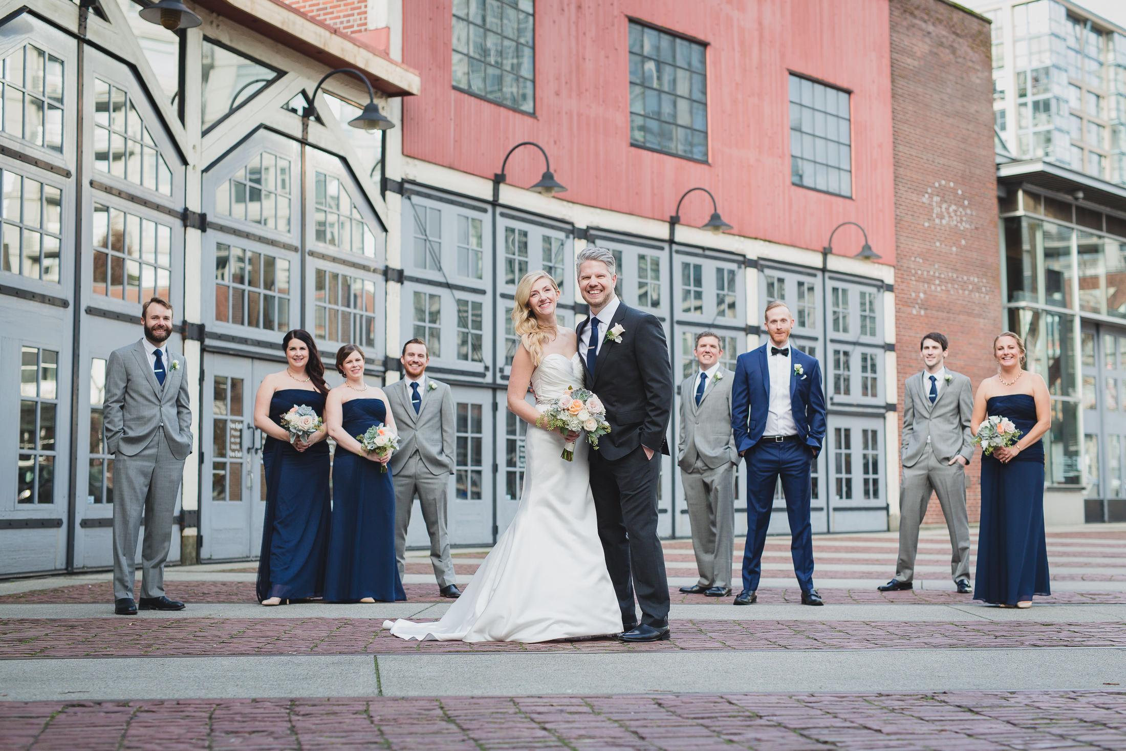 roundhouse yaletown wedding photos, group wedding party photo