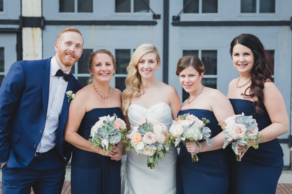 bride with bridesmaids and bridesman portrait