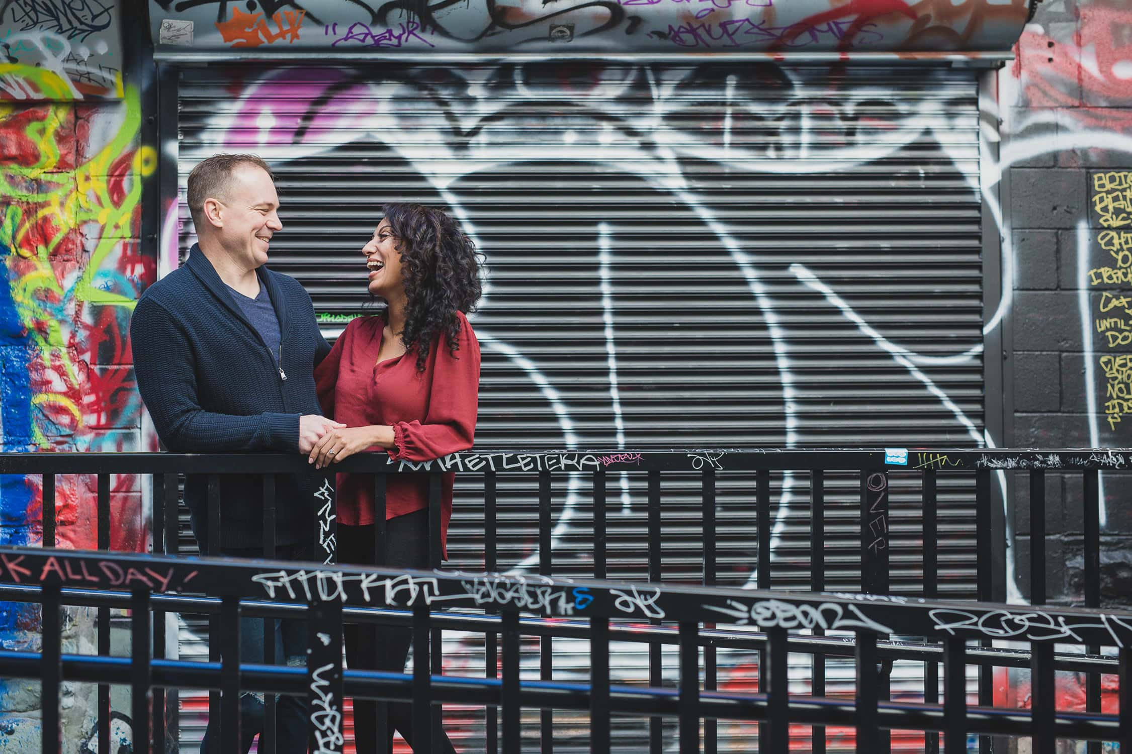 Fun and quirky engagement session in Vancouver Gastown graffiti alley