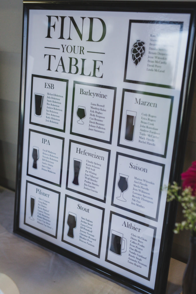 beer themed seating chart at port moody wedding
