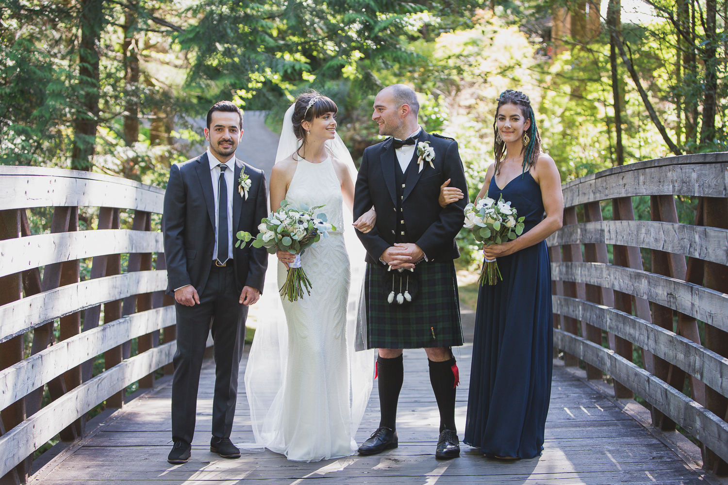Wedding Party portraits at Furry Creek in Squamish