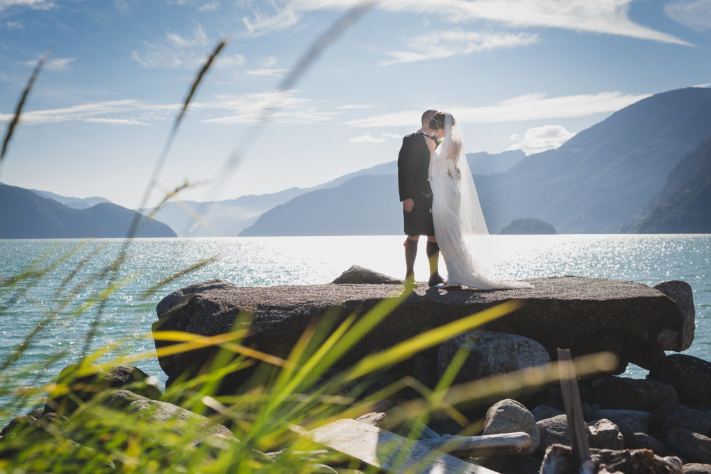 Whistler wedding couple at Furry Creek ocean portrait
