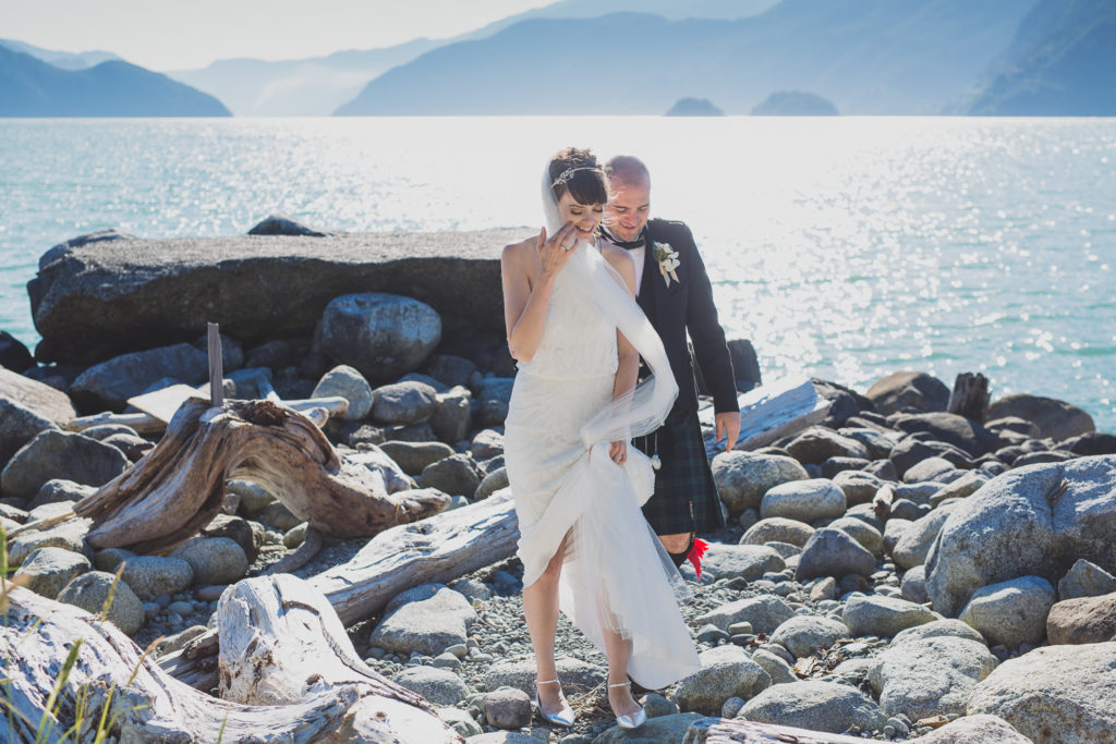 documentary wedding photography Vancouver, wedding couple by the ocean