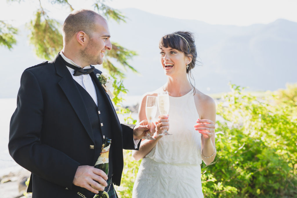 bride and groom with champagne in Squamish, documentary wedding photography