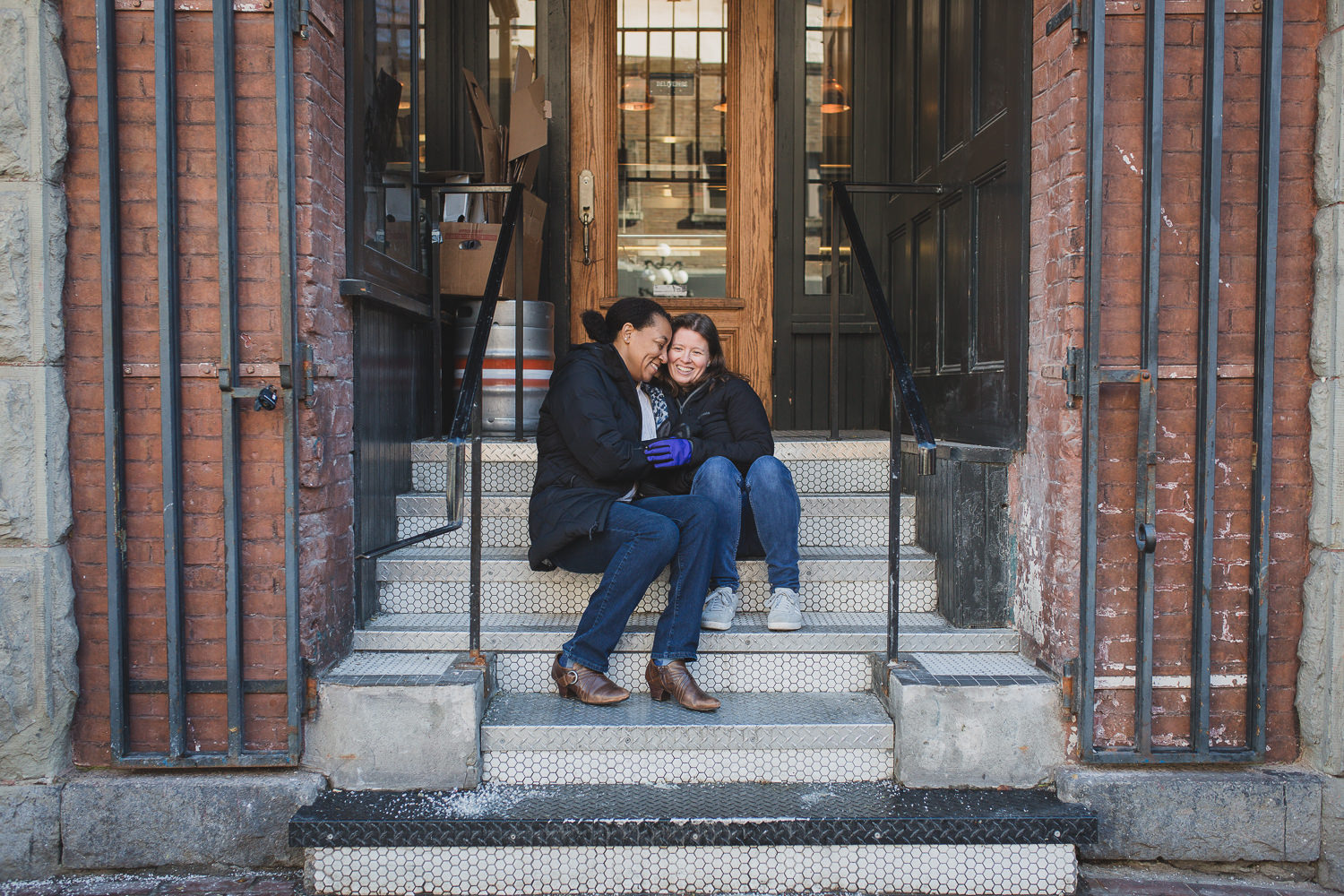 lgbtq couple winter engagement session in gastown