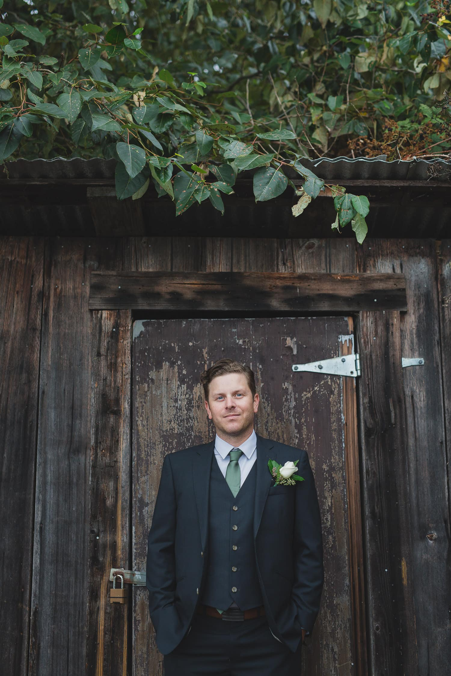 alternative groom portraits at steveston wedding