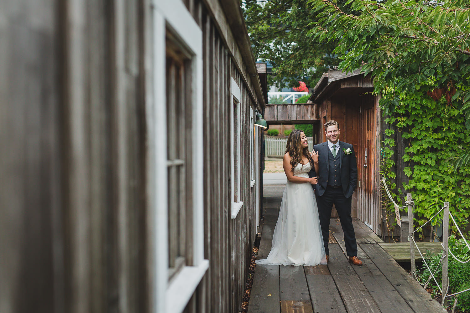 couples portraits at brittania shipyards in steveston