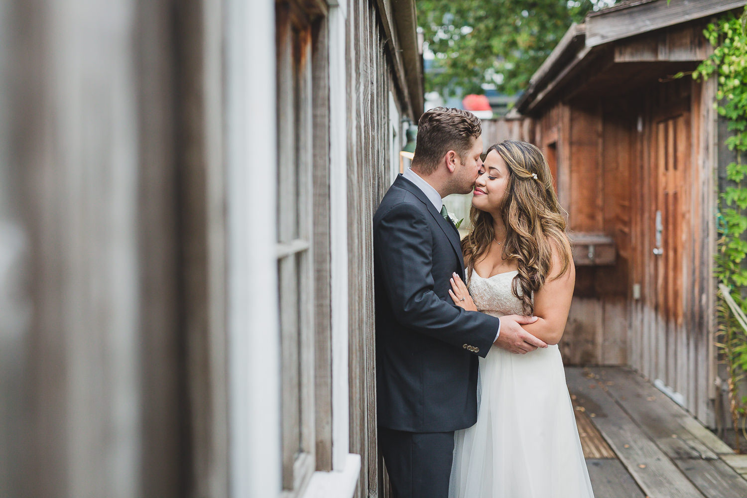 bride and groom portraits at steveston wedding in brittania shipyards