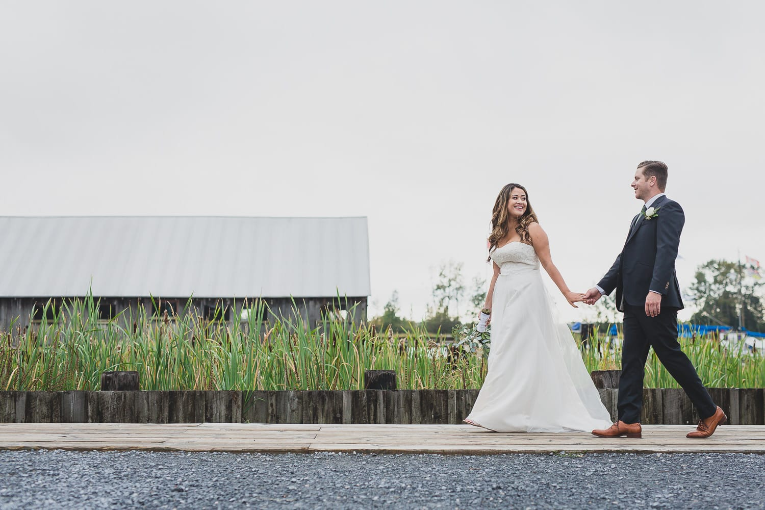 wedding couple's portraits in brittania shipyards in steveston