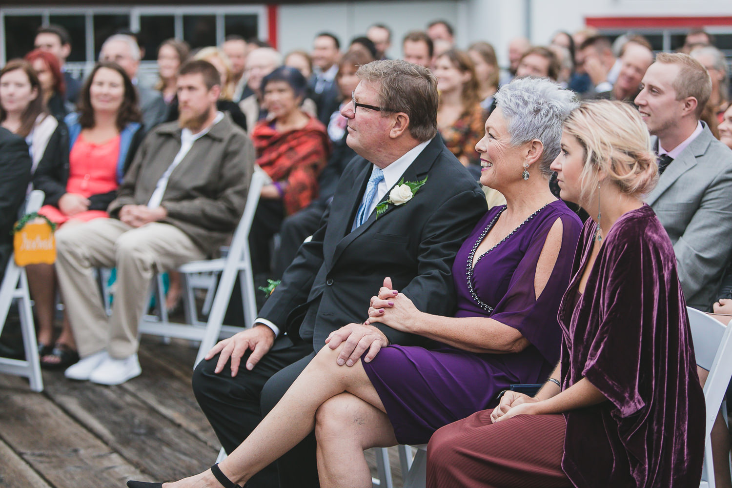 parent reactions during wedding ceremony in steveston