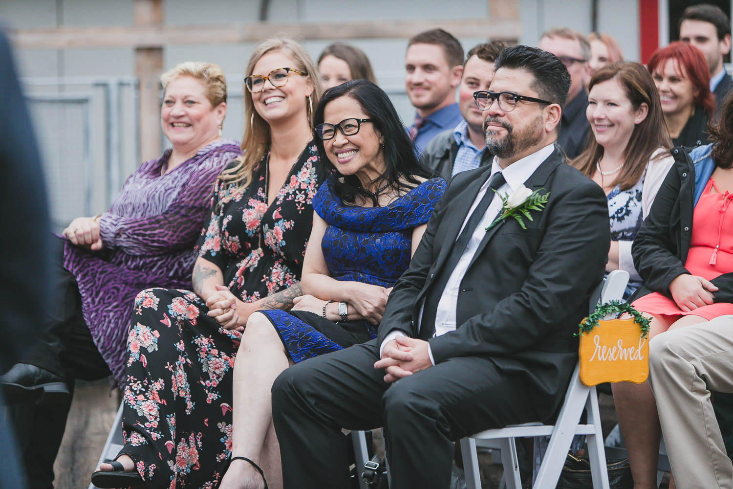 family reactions during wedding ceremony in steveston