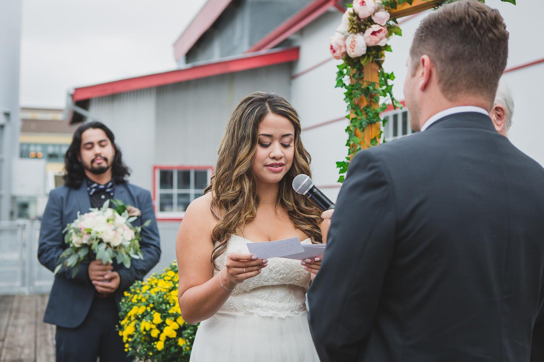 bride reading vows at steveston wedding ceremony