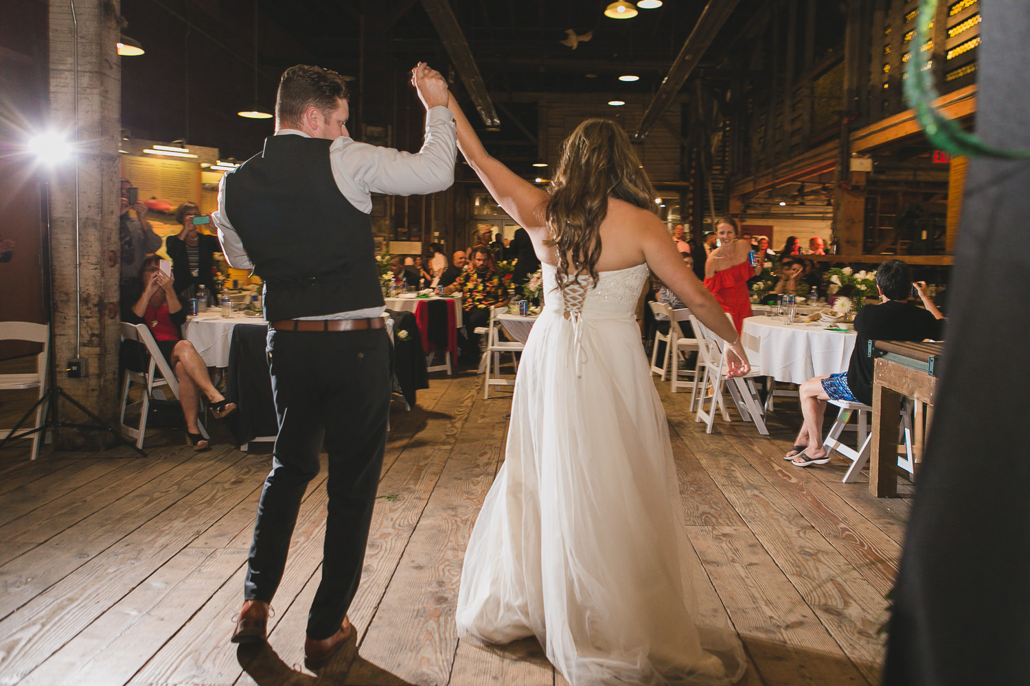 bride and groom alternative reception first dance