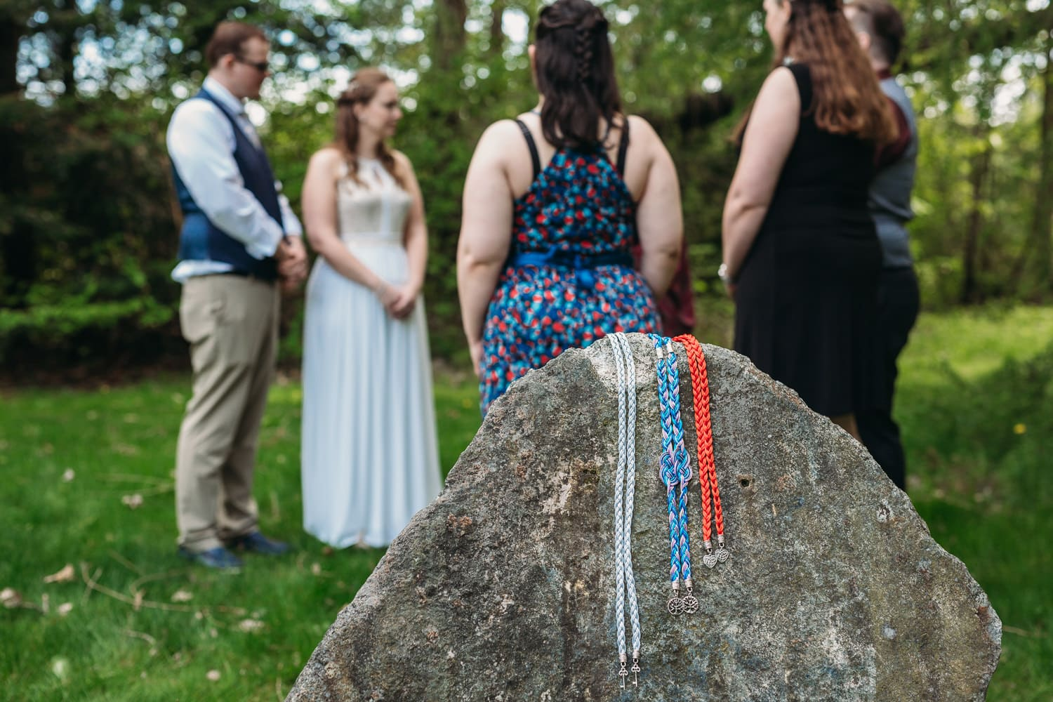 hand-fasting cords at elopement ceremony at campbell valley park