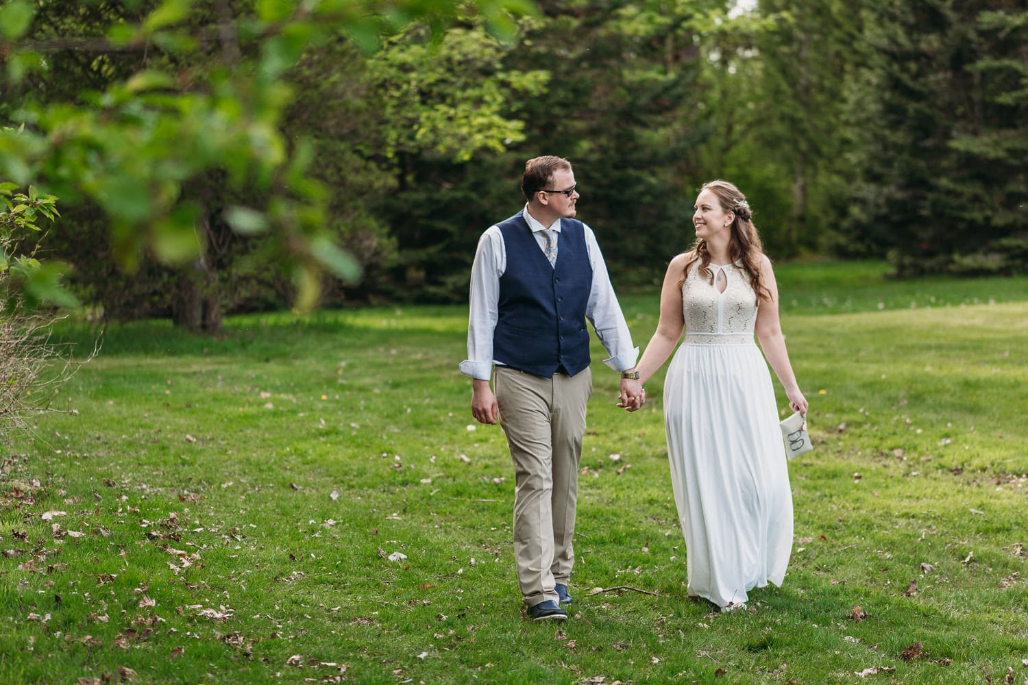 couple walking at campbell valley park elopement