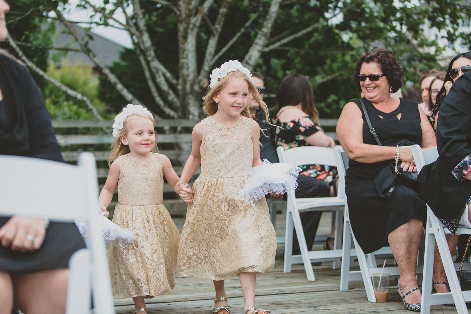 flower girls entering wedding ceremony in Pitt Meadows