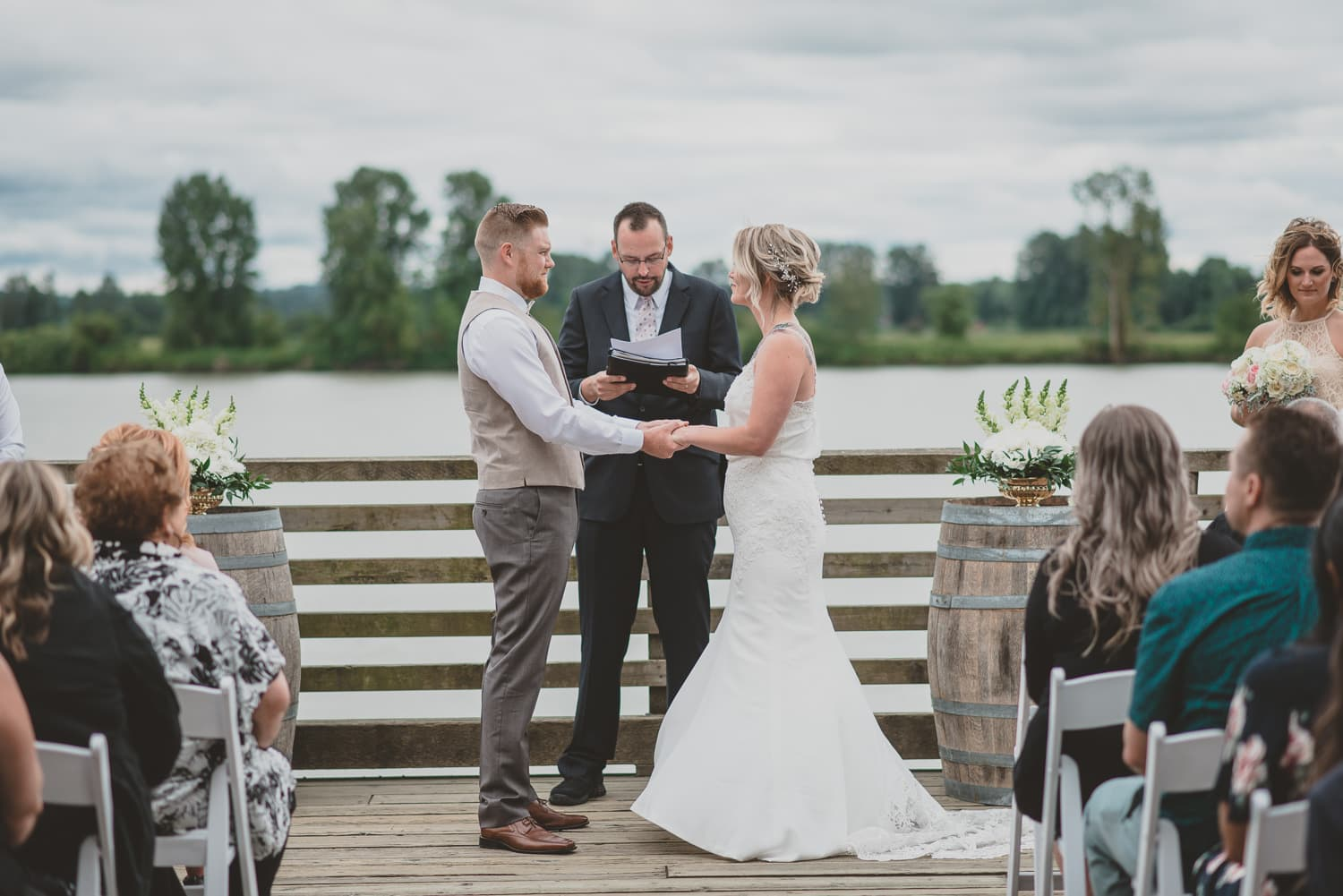 south bonson community centre wedding ceremony on dock