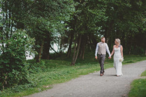 wedding couple portraits in osprey village at south bonson community centre