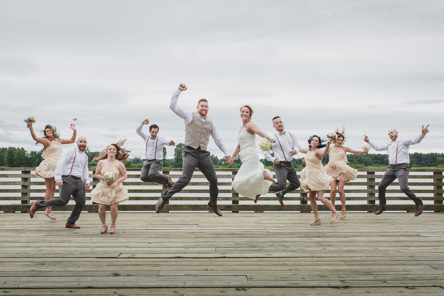 wedding party jumping portrait