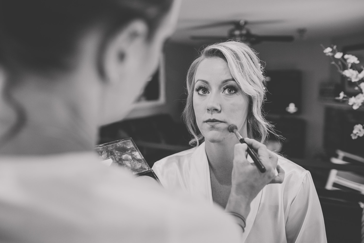 Bride getting ready with Jamie Hyslop makeup