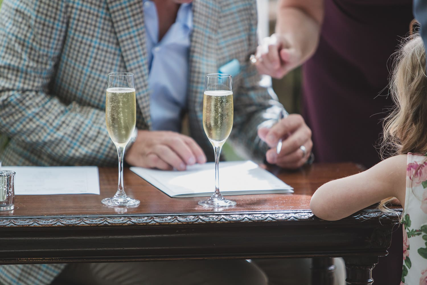 Champagne detail during signing at Vancouver wedding ceremony